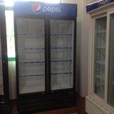 강력한 송풍된 냉각 장치를 가진 600L 미닫이 문 음료 냉각기