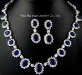 Классический овальный устраивающих украшения, синий сапфир свадебные кубических обедненной смеси цепочка