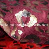Leopardo Print Stamp Polyester Flocado Tecido para Cortina / Sofá / Estofados
