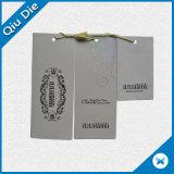 Impresión de papel cartón personalizada colgar la ropa de etiqueta para prendas de vestir