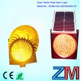 Piloto accionado solar del tráfico del amarillo del LED que contellea