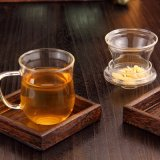 飲む茶のための二つの部分から成った高品質のガラスコップ