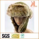耳の折り返しが付いている100%年のポリエステル羊毛及び人工毛皮のUshankaの冬の帽子