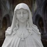 정밀한 솜씨에 의하여 종교 조각품 동정녀 마리아 새겨지는 백색 대리석 동상