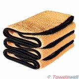 Auto toalha de detalhe de Microfiber com bordas unidas seda