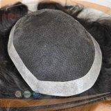 손에 의하여 묶이는 가득 차있는 레이스 PU 가장자리 국경 동봉하는 사람의 모발 자연적인 색깔 머리 피스 Toupee