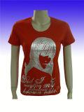 Fashion femmes polyester/coton rouge T-Shirt à manches courtes