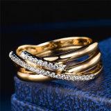 Anello di cristallo della traversa di Oro-Colore dell'annata di nuovo del mosaico Zircon antico del AAA