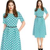Женщин элегантный Vintage Polka Dot летом туника вот моделей износа для работы отделения партии одежды
