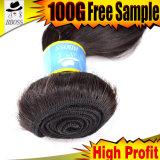 grand cheveu brésilien de l'onde 10A, cheveux humains de Vierge