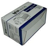 La venta barata recicla el rectángulo de papel sujetado con grapa de la cartulina acanalada con insignia de encargo