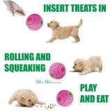 Interaktiver fehlerfreier Quietschen-Walzen-Hund spielt die Kugel und Behandlung, die Kugel-Super großes Rosa zuführen