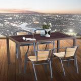 Table basse de bonne qualité de patio extérieur moderne de jardin et meubles en aluminium de présidence avec le dessus en bois en plastique
