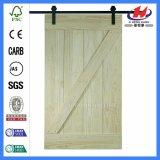 Vidro corrediço de chuveiro antigo celeiro porta de madeira sólida de aço inoxidável