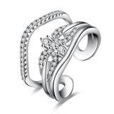 De goud Geplateerde Juwelen van de Overeenkomst van de Ring van het Zirkoon Regelbare Open
