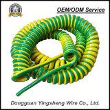 Preço de grosso do cabo amarelo da espiral do cabo da mola do verde TPU da nota