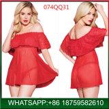 2018 Novo design do conjunto de lingerie sexy vermelho quente desligado ombro mulher madura