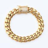 Il micro pavimenta il braccialetto cubano della catena a maglia dell'oro della CZ per gli uomini