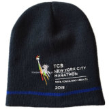 工場農産物によってカスタマイズされるデザインジャカード青い編まれたアクリルの袖口の帽子の帽子