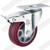 5 인치 빨간 폴리우레탄 바퀴 중간 의무 산업 피마자