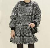 Les ventes de femmes jupe plissée Plaid col rond