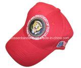 Fabrik-Erzeugnis-kundenspezifische Firmenzeichen-Stickerei-roter Baumwoltwill-Baseball-Hut