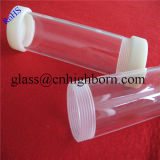 La vis à filetage de la pureté de haute qualité les extrémités du tube de quartz silice claire avec bouchon en téflon