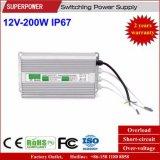 Fonte de alimentação impermeável IP67 do interruptor do diodo emissor de luz da tensão constante 12V 200W do excitador do diodo emissor de luz