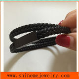 Shineme Schmucksache-Heiß-VerkaufenEdelstahl und reales ledernes Zeichenkette-Armband (BL2847)