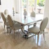 現代円のクロムU形ベース固体大理石のダイニングテーブルのステンレス鋼