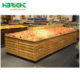 Cremagliera di visualizzazione di verdure della frutta dell'alimento del supermercato di visualizzazione delle mensole dei grani del riso della mensola materiale di legno resistente di memoria