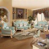 Sofá de couro com frame do sofá e a tabela de madeira do lado (610)