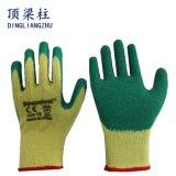 10 Anzeigeinstrument Polycotton Sicherheits-Handschuh mit dem Windung-Latex beschichtet