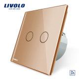 Золотистый цвет Livolo 2 токопроводящей дорожки дистанционный переключатель управления RF Vl-C702R-13