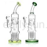 Verbogenes Stutzen-Zylinder-Schweizer Huka-Glas-rauchende Wasser-Rohre (ES-GB-278)