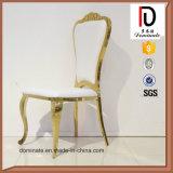 Cadeira de couro do copo de água dourado moderno do aço inoxidável do banquete