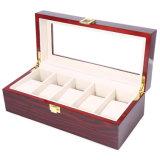 El 5 de alta calidad de lujo en cuadrículas de MDF cajas de reloj de madera maciza
