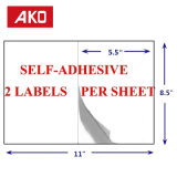 L'emballage d'impression papier thermique autocollants 2 étiquettes par feuille de la logistique des étiquettes