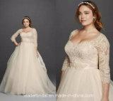 Gli abiti nuziali del 3/4 di manicotto più il vestito da cerimonia nuziale su ordinazione del Organza di Tulle del corsetto del merletto di formato Ya109