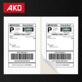 Impression empaquetant des collants de papier thermosensible 2 étiquettes par étiquettes de logistique de feuille