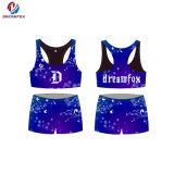 디자인 Sublimated Sexy Women Cheerleading Crop Tops와 Shorts Wholesale Custom Cheerleading Uniforms