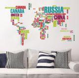Etiquetas coloridas dos decalques da parede dos miúdos do berçário da casca e da vara do mapa de mundo