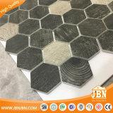 木デザイン六角形の網によって取付けられるガラスモザイク(V645008)