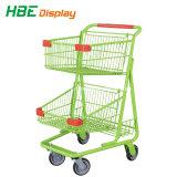 CER u. ISO genehmigten zwei Reihe-Lebensmittelgeschäft-Einkaufswagen für Verkauf