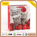 La navidad lindo gatito bolsa de papel, Asa bolsa, bolsa de papel de regalo