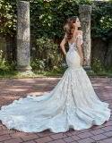 outre de la robe de mariage perlée de sirène de lacet de train de cour de robes nuptiales d'épaule Ml2018