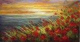 赤い花の海の中国からのハンドメイドの油絵