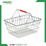 Supermarkt-Doppelt-Griff-Metalldraht-Einkaufskorb