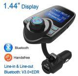 Transmisor FM Bluetooth inalámbrico de diseño/Ld para coche Adaptador FM Car Kit manos libres con la reproducción de música Caja de carga de coche USB