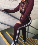 Deportes de la mujer traje Pullover Hoodie sudor pantalones Chándal Set